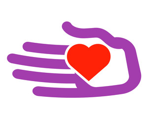 hand and heart vector logo design template. charity or family