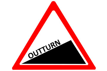 Outturn increasing warning road sign isolated on white