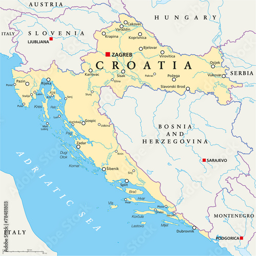 Croatia Political Map - 78481803