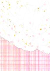 桜色のチェックと花びら和紙風