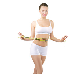 Woman with tape measurement, diet and fitness concept
