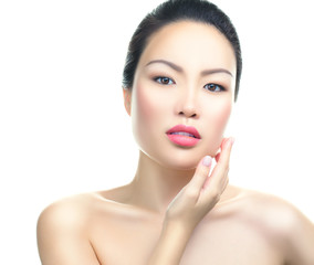 Asian woman beauty face closeup portrait. Isolated.
