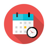 Calendar and clock Time circle icon - 78482672