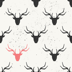 Deer Head Silhouette Seamless Pattern
