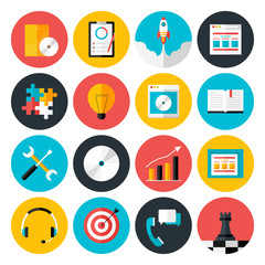 Flat icons vector collection of web design objects, business, of