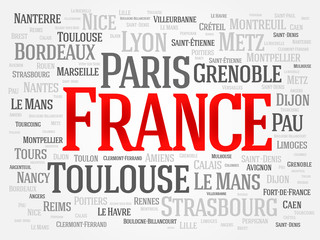 FRANCE word cloud, travel concept, list of cities in France