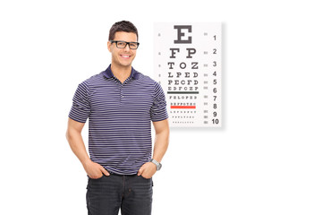 Man with glasses standing in front of an eyesight test