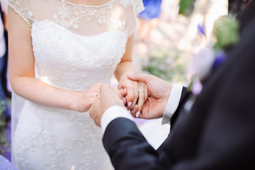 Bride and groom's hands with wedding rings.