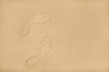 sandy beach with human footprints, copy space