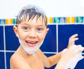 Cute boy in bathroom