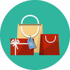 Vector Shopping Bags of Presents Flat Illustration