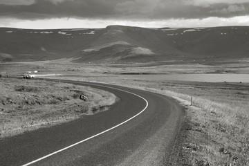 Iceland landscape. Black and white.