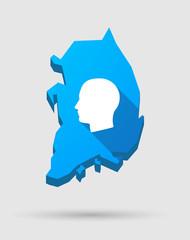 Blue South Korea map with a male head