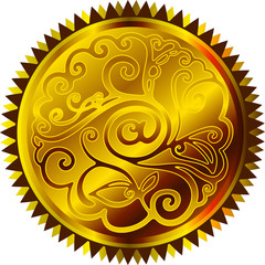 Gold email sticker.