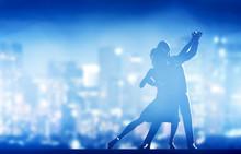 """Постер, картина, фотообои """"Romantic couple dance. Elegant classic pose. City nightlife"""""""