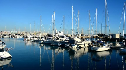 Luxury yachts in harbor, Puerto Sherry, Cadiz, Spain