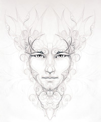 Abstract  man drawing ornamental flower portrait on paper eye co