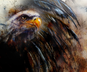painting  eagle on an abstract background, USA Symbols Freedom