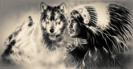 A beautiful airbrush painting of an young indian warrior accompa