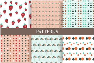 Set of six romantic, seamless patterns