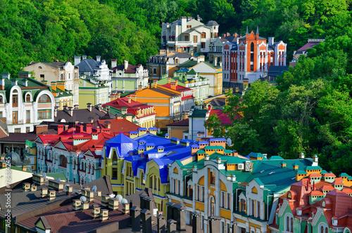 Fotobehang Kiev Vozdvizhenska and Honcharna street in Kiev