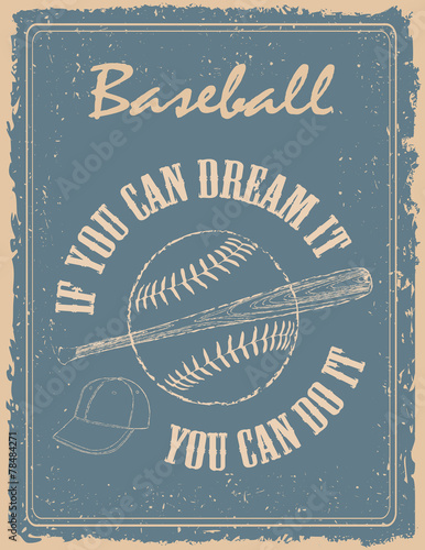 Fotobehang Vintage Poster Vintage baseball poster