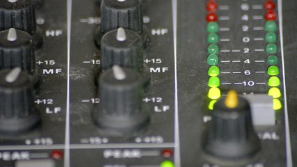 Digital VU meters in a mixer table