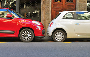 Two cars before an accident