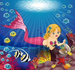 Mermaid with Pearl in the bottom of the sea