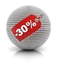 30 percent off sale tag on a sphere