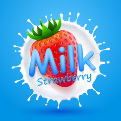 Label milk strawberry