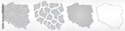 polska, mapa, kontur, województwa