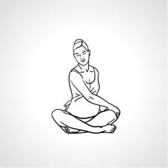 Pregnant woman doing some yoga exercise