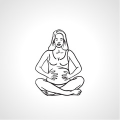 Silhouette of the pregnant woman, fitness for pregnant