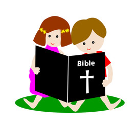 Little boy and girl reading bible isolated on white