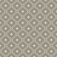 Brown and White Fleur-De-Lis Pattern Textured Fabric Background