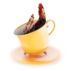 Splash of tea in cup