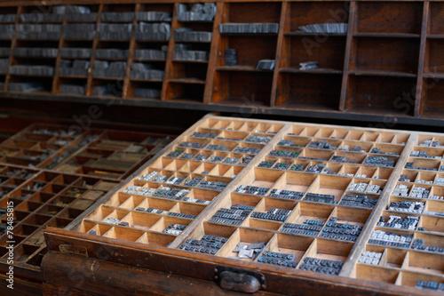 Metal printing press letters - 78485815
