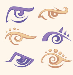 vector collection of woman' eyes, vision symbols and icons