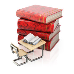 Stack of books and school desk