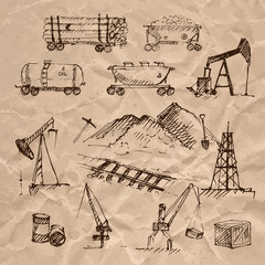 Hand drawn resource extraction on crumpled paper.