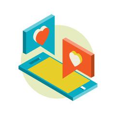 Isometric illustration for Valentine's Day