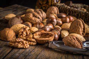 steel nutcracker and nuts