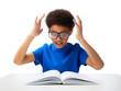African American school boy reading book