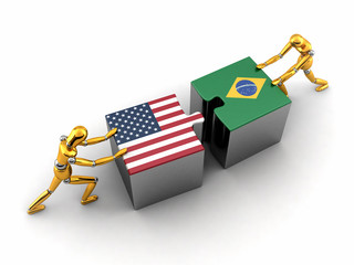 Political or financial concept of the USA struggling with Brazil