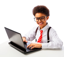 African American school boy with laptop