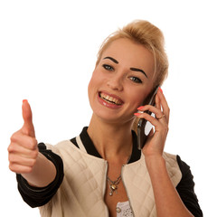Beautiful lady with cell phone talking isolated over white