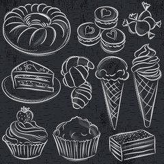 set of different sweetmeats on blackboard, vector