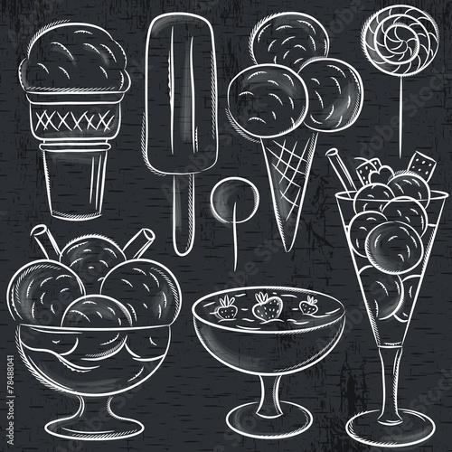 set of different  ice cream on blackboard, vector