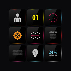 Black glass infographic template design. Vector